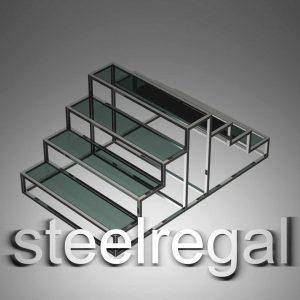 رگال استند سه پله رگال ایستاده استند فروشگاهی رگال استیل