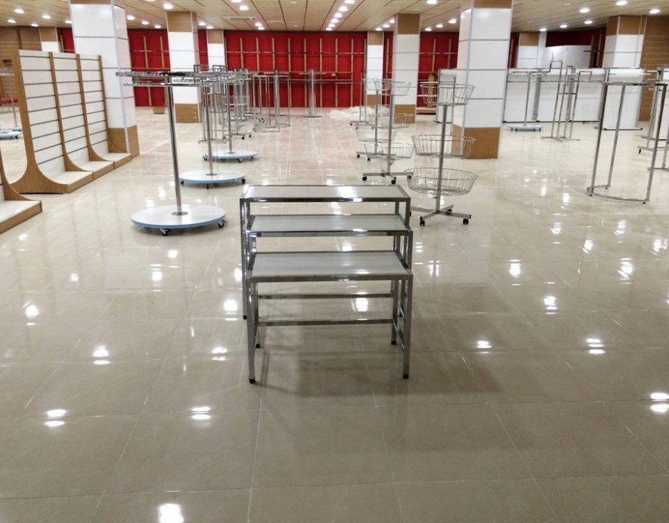 نمونه کار استیل رگال ۲ رگال لباس رگال ایستاده استند فروشگاهی